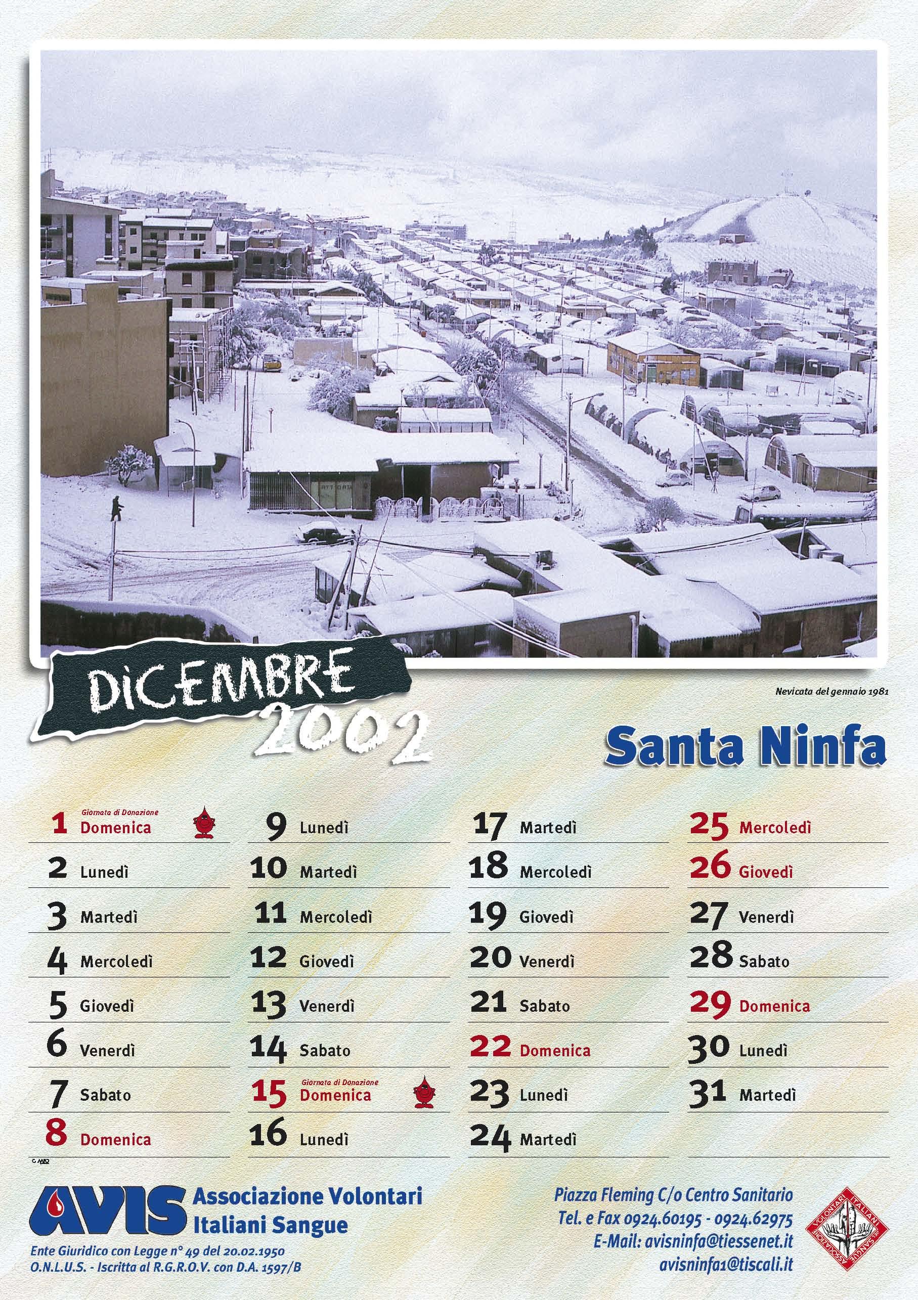 Calendario Avis.Calendario Avis 2002 Avis Santa Ninfa