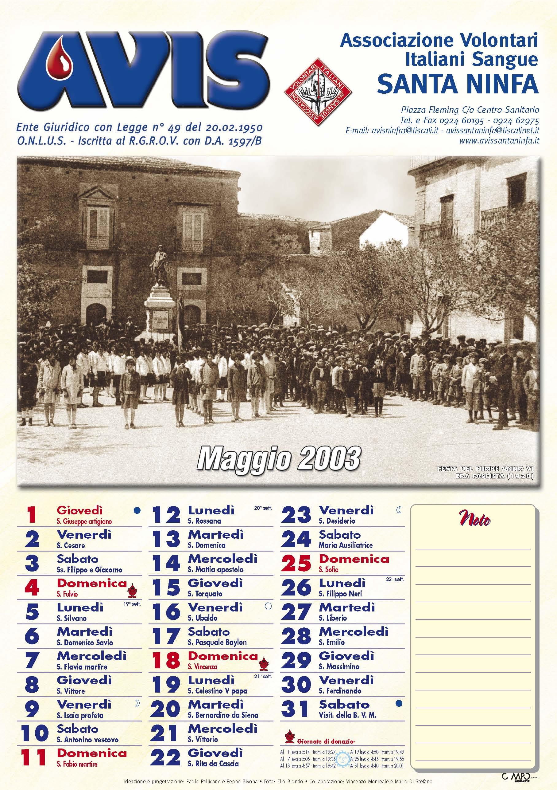 Calendario Avis.Calendario Avis 2003 Avis Santa Ninfa