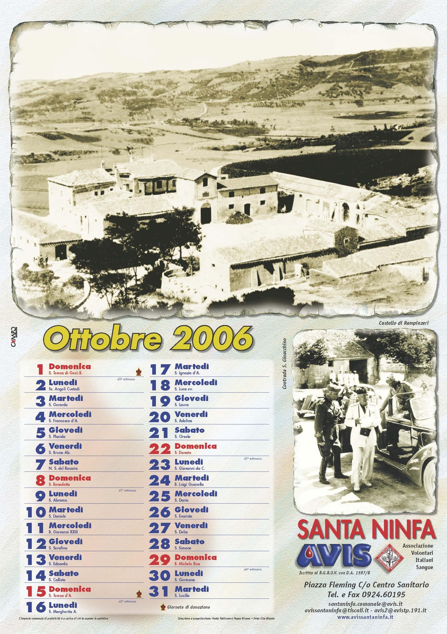 Calendario Avis.Calendario Avis 2006 Avis Santa Ninfa